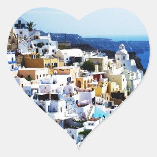 Santorini Island in Greece PHOTO Heart Sticker