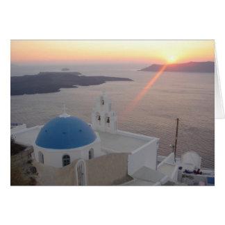 Santorini Sunset Card