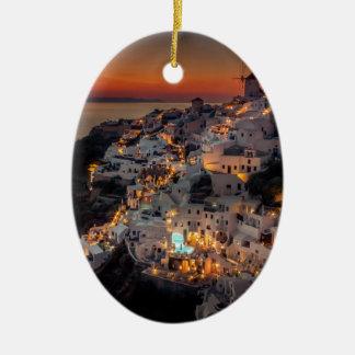 Santorini Sunset, Greece Ceramic Oval Ornament