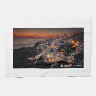 Santorini Sunset, Greece Kitchen Towel