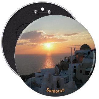 Santorini Sunset Round Button
