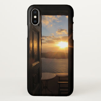 Santorini sunset through door iPhone x case