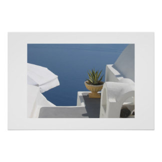 Santorini villa view poster