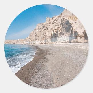 Santorini Vlichada beach Classic Round Sticker