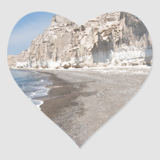 Santorini Vlichada beach Heart Sticker