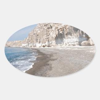 Santorini Vlichada beach Oval Sticker