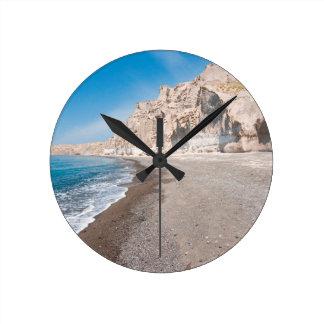 Santorini Vlichada beach Round Clock