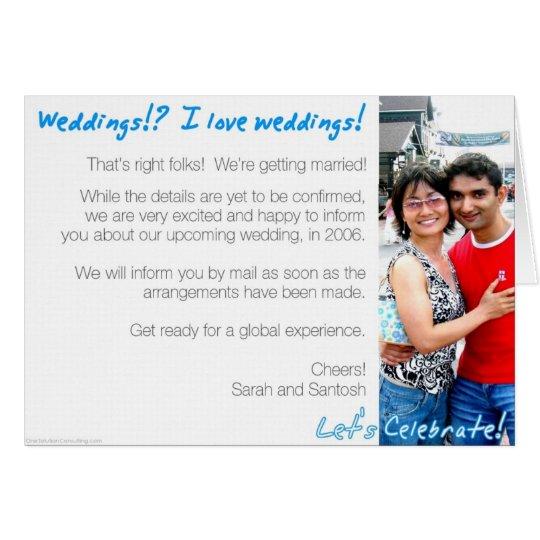 Santosh and Sarah Announcement card