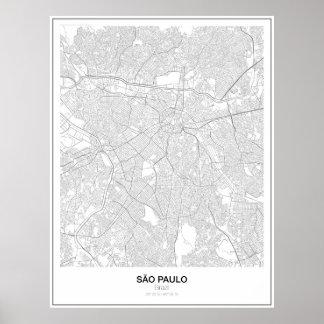 São Paulo, Brazil, Minimalist Map Poster (Style 2)
