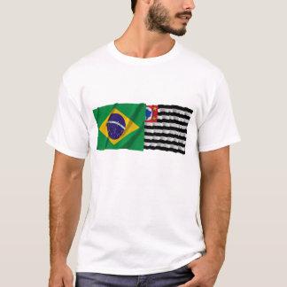 São Paulo & Brazil Waving Flags T-Shirt