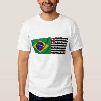 São Paulo & Brazil Waving Flags T Shirts