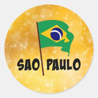 Sao Paulo, Flag of Brazil Classic Round Sticker