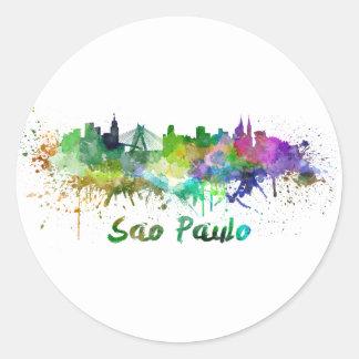 Sao Paulo skyline in watercolor Classic Round Sticker
