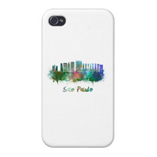 Sao Paulo skyline in watercolor iPhone 4 Covers