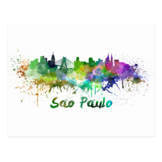 Sao Paulo skyline in watercolor Postcard