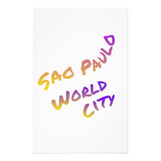 Sao Paulo world city, colorful text art Custom Stationery