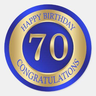 Sapohire blue and gold 70th Birthday Classic Round Sticker