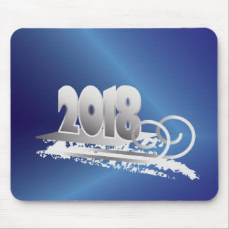 sapphire and silver new year mouse pad