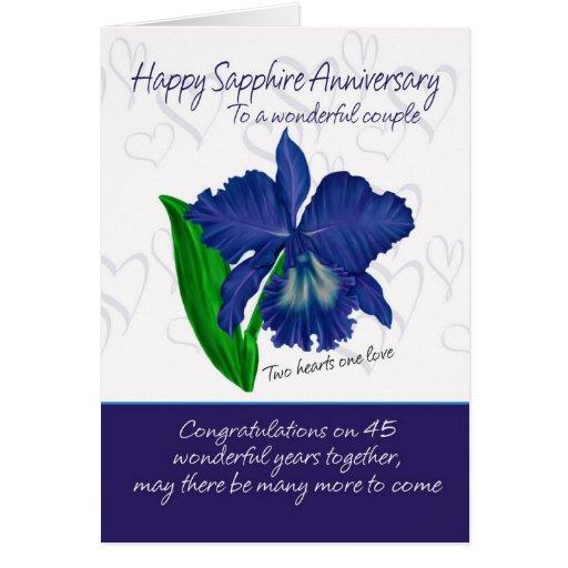 Sapphire Anniversary Card 45th Anniversary Card Zazzle