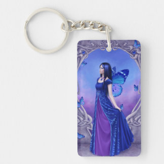 Sapphire Birthstone Fairy Double Sided Keychain