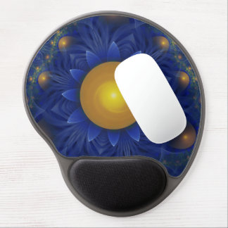 Sapphire Blue and Golden Yellow Lotus Sunflower Gel Mouse Pad