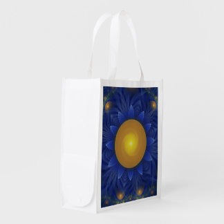 Sapphire Blue and Golden Yellow Lotus Sunflower Reusable Grocery Bag