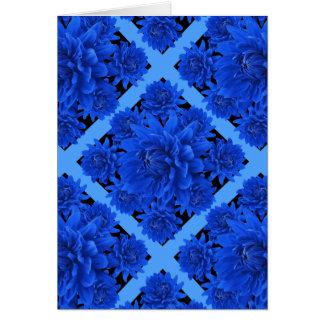 Sapphire Blue Dahlias Pattern Gifts Card