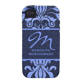 Sapphire Blue Damask Swirls   Monogrammed Case iPhone 4 Covers