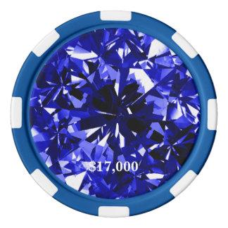 Sapphire Blue Diamond Gem Stone Poker Chip Stripe