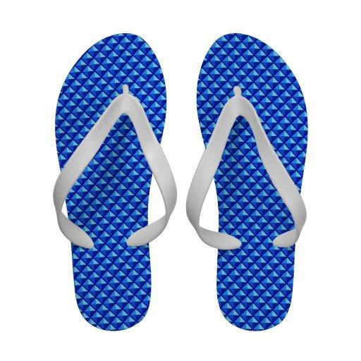 Sapphire blue, enamel look, studded grid flip flops