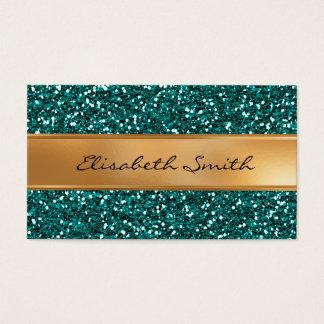 Sapphire Blue Glitter, Faux Gold Foil Business Card