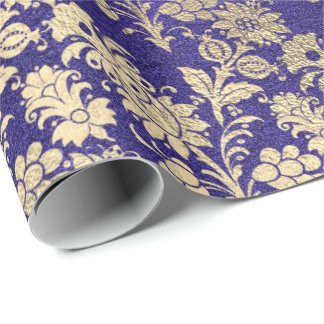 Sapphire Blue Gold Floral Powder Floral Foxier Wrapping Paper