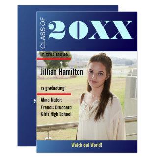 Sapphire Blue Graduation Magazine Cover Invite