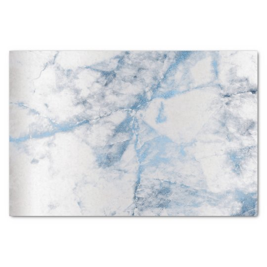 Sapphire Blue Grey Silver Marble Metallic Abstract Tissue Paper