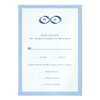 "Sapphire Blue Infinity Hand Clasp Wedding RSVP Car 3.5"" X 5"" Invitation Card"