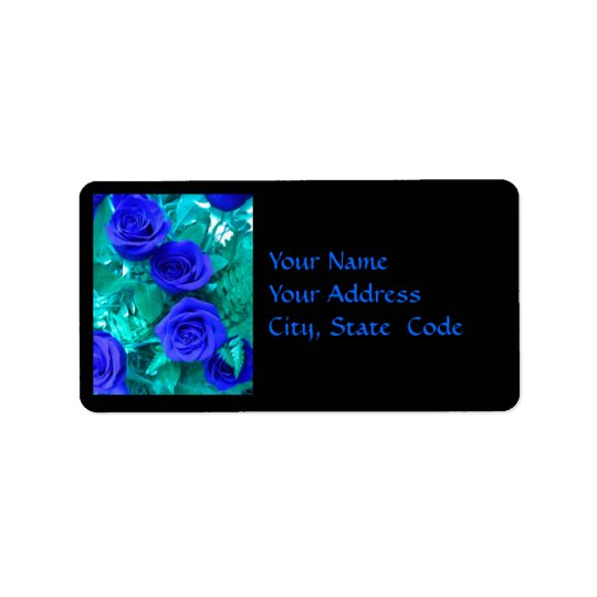 Sapphire Blue Roses Address label