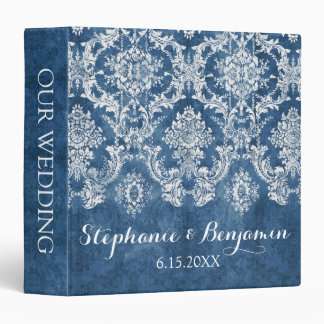 Sapphire Blue Rustic Damask Pattern Wedding 3 Ring Binder