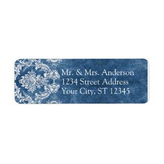 Sapphire Blue Rustic Damask Pattern Wedding Return Address Label