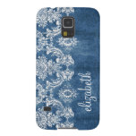 Sapphire Blue Vintage Damask Pattern and Name