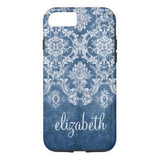 Sapphire Blue Vintage Damask Pattern and Name iPhone 7 Case