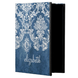 Sapphire Blue Vintage Damask Pattern and Name Powis iPad Air 2 Case