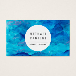 Sapphire Blue Watercolor Custom Business Card