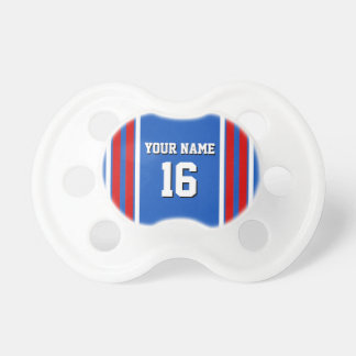 Sapphire Blue with Red White Stripes Team Jersey Pacifiers