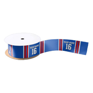 Sapphire Blue with Red White Stripes Team Jersey Satin Ribbon