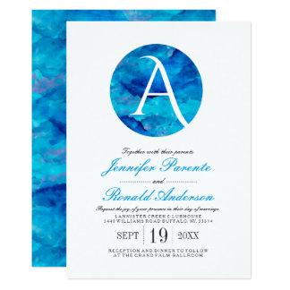 Sapphire Cloud Window Monogram Wedding Invitation