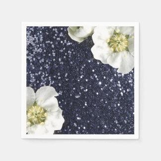 Sapphire Deep Navy Jasmine Glitter Sequin Beach Paper Napkin