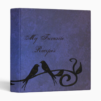 Sapphire Grunge Vines Recipe Book Binder