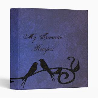 Sapphire Grunge Vines Recipe Book Vinyl Binder