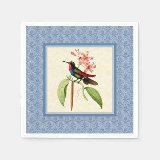 Sapphire Hummingbird Blue Damask Paper Napkins