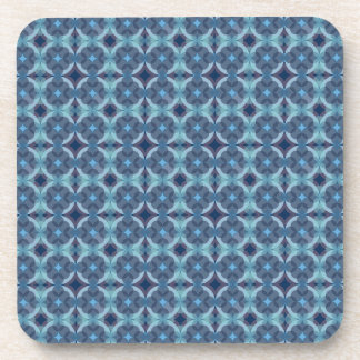 Sapphire Kaleidoscope Pattern Drink Coaster